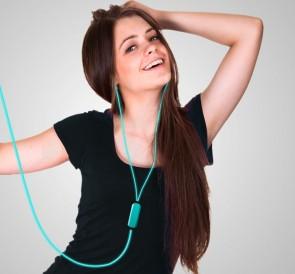 Blue Headphones with dancing light